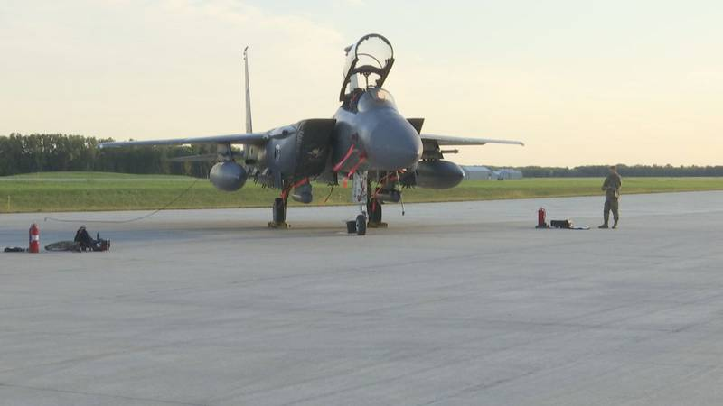 A fighter jet from the 389th Fighter Squadron of the U.S. Air Force is parked at Jet Air in...