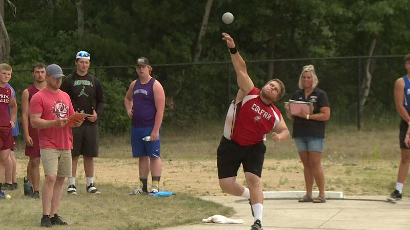 Thomas Drees of Colfax wins the shot put sectional in Cameron.