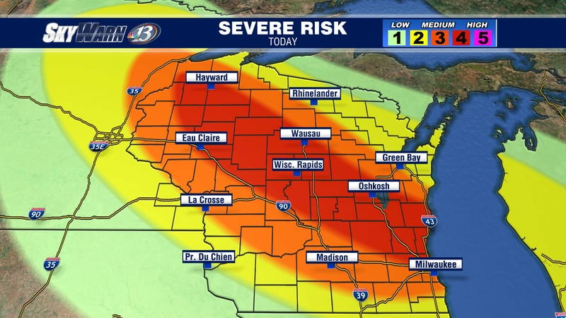 A level 3 & 4 risk for all of our area this evening