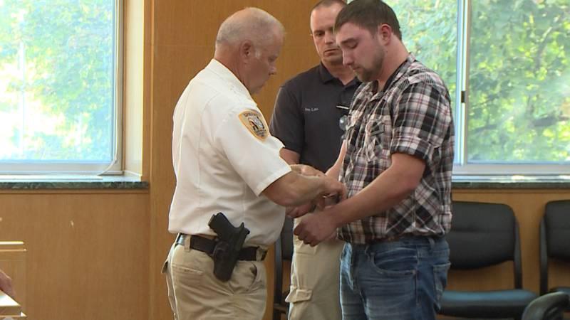 John Stender is taken into custody to begin three year prison sentence.