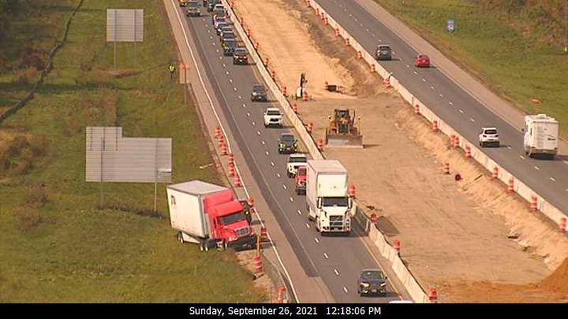 A crash involving a semi in St. Croix County near Woodville blocked one lane of traffic in the...