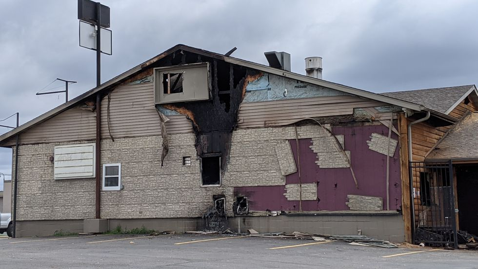 A daytime view of the damage done to The Alibi Lounge in Eau Claire from a Monday morning fire.