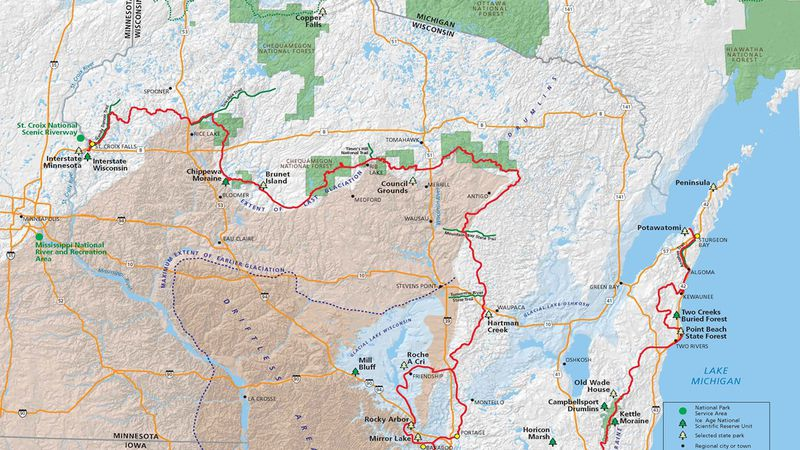 Ice Age Trail Map, National Parks Service