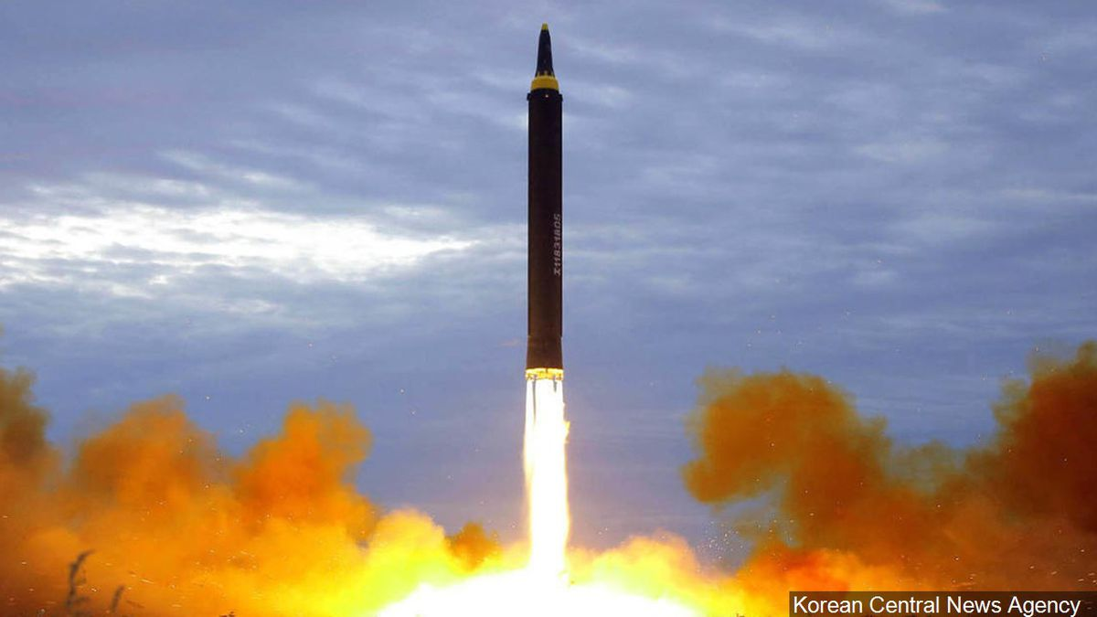 North Korea test launch of a Hwasong-12 intermediate range missile in Pyongyang, North Korea,...