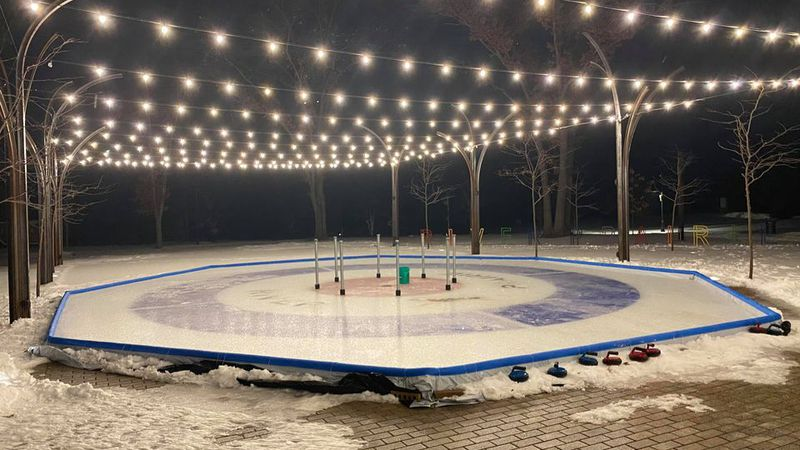 The Crokicurl rink is all set up at River Prairie Park in Altoona.