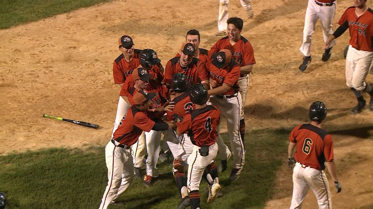 The Eau Claire Express celebrate their win Monday night against the Duluth Huskies.
