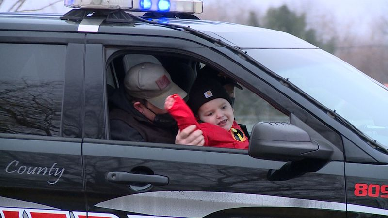 Brody Thompson in the Chippewa County Sheriff's car