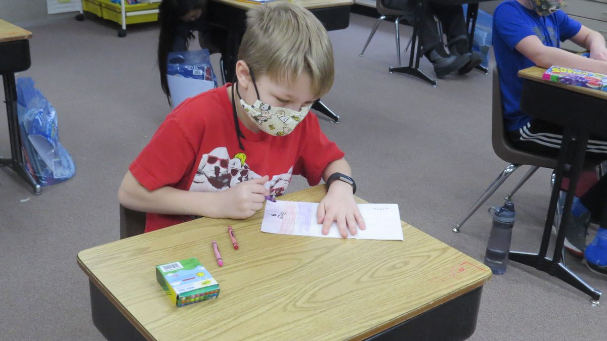 Manz Elementary students making Valentine's for local senior homes, Friday.