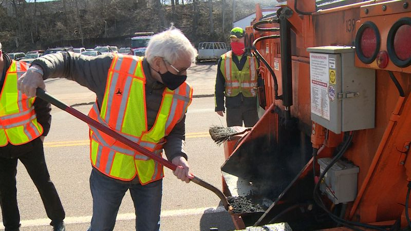 Gov. Evers on 'Pothole Patrol' Wednesday morning in Chippewa Falls.