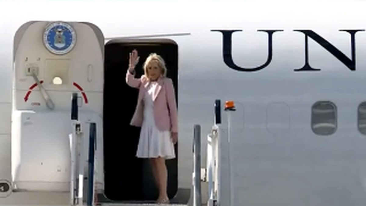 First lady Dr. Jill Biden departs Yeager Airport late Thursday afternoon after a full schedule...