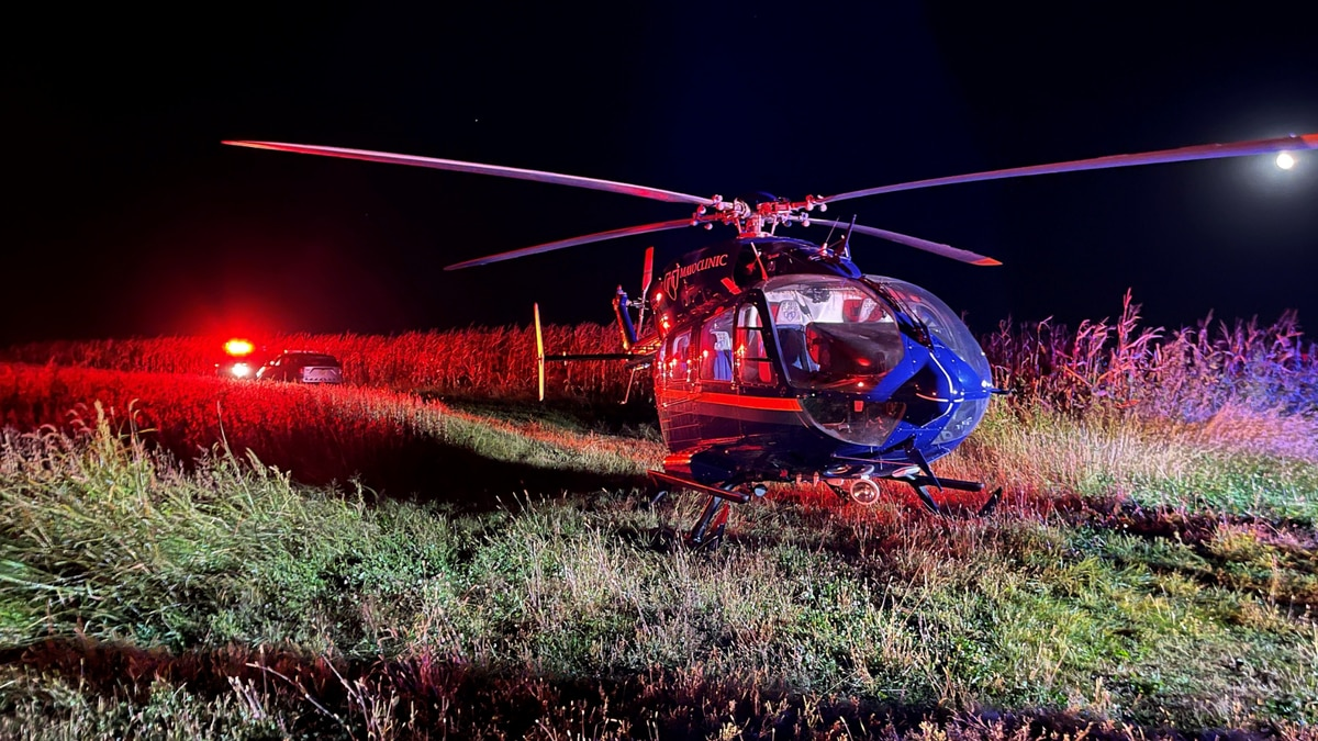 He was taken by Mayo One Helicopter to a hospital for serious injuries.