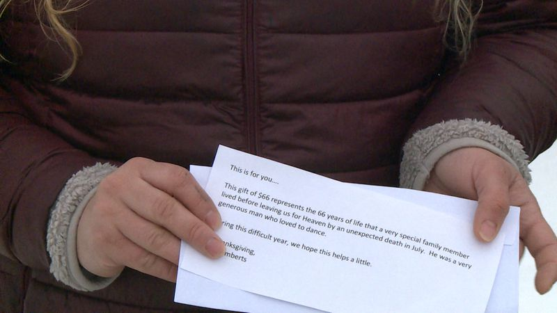 Eau Claire resident receives random act of kindess from a stranger Christmas Day while waiting...