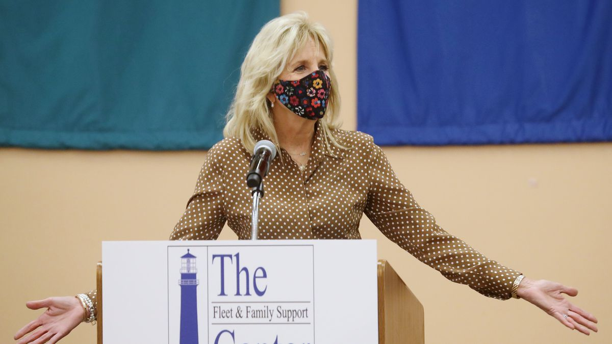 FILE - In this March 9, 2021 file photo, first lady Jill Biden speaks at Naval Air Station...