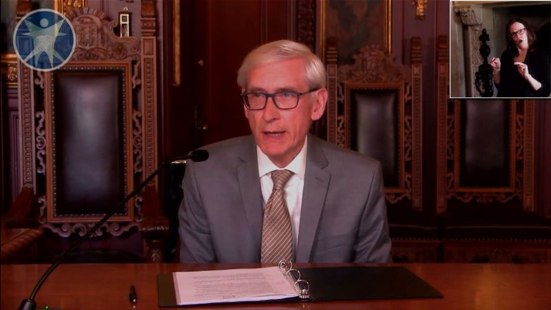 Gov. Tony Evers during the DHS briefing on 5/8/2020 (WSAW photo)
