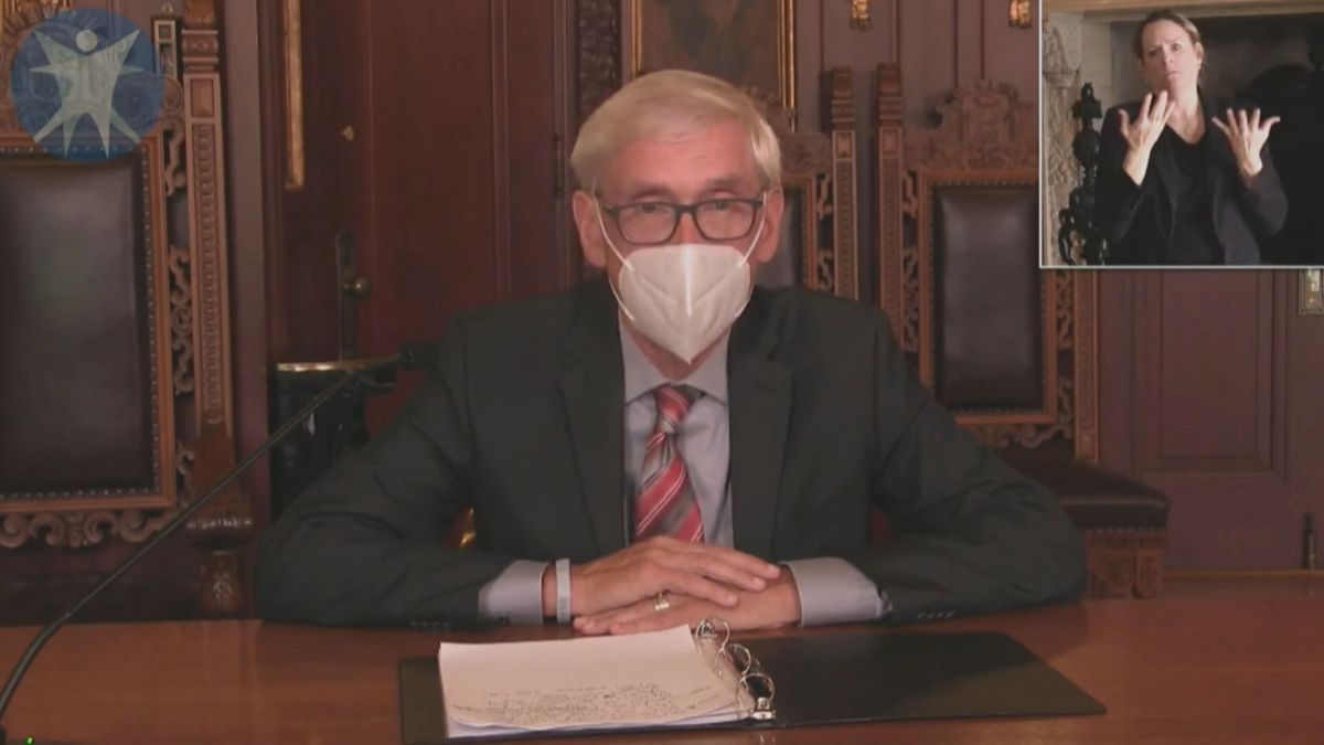 Gov. Tony Evers speaks to community with health officials during pandemic