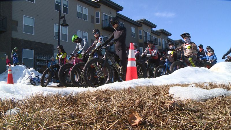 Riders line up to take part in the Frosty Toona Fat Tire Race.