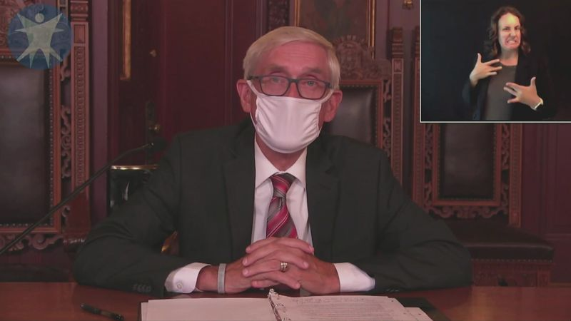 Gov. Tony Evers during the DHS press conference on July 23.