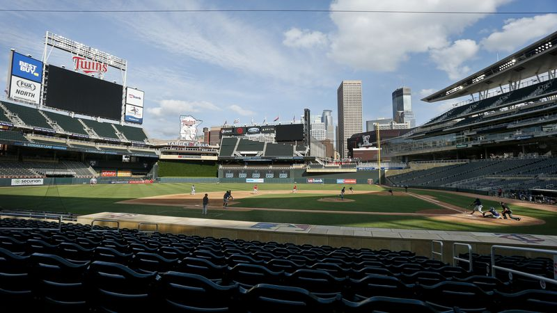 The Minnesota Twins play an intrasquad game at Target Field at baseball camp Monday, July 13,...