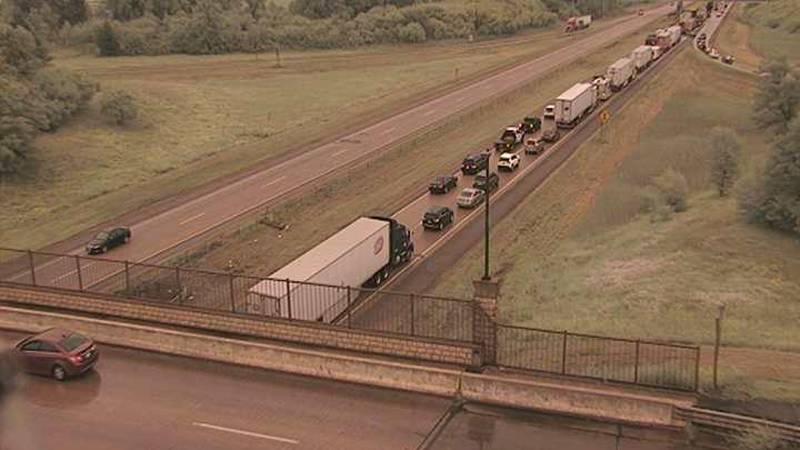 A semi fire began affecting eastbound Interstate 94 traffic around 2 p.m. Wednesday near...