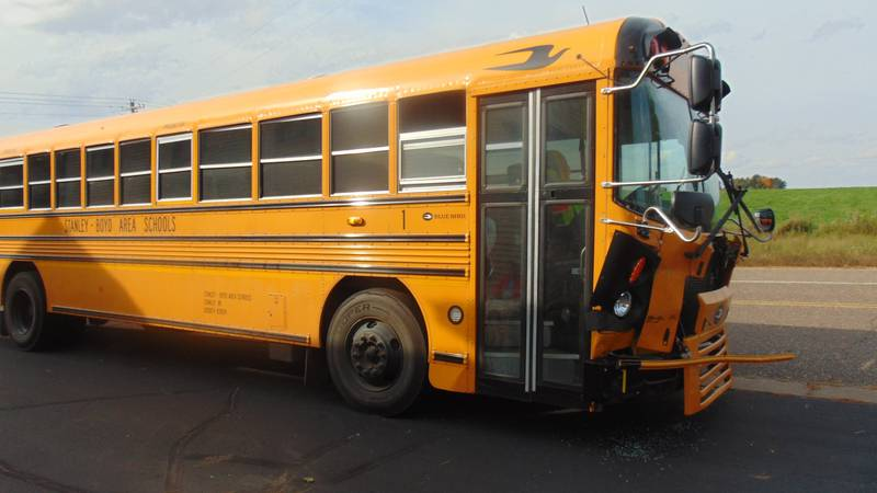 A crash on Friday, Oct. 1 involving a school bus and a car in the Town of Edson between Boyd...