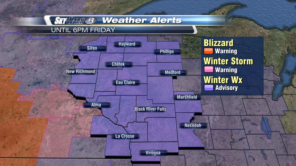 A winter weather advisory remains in effect through the majority of Friday