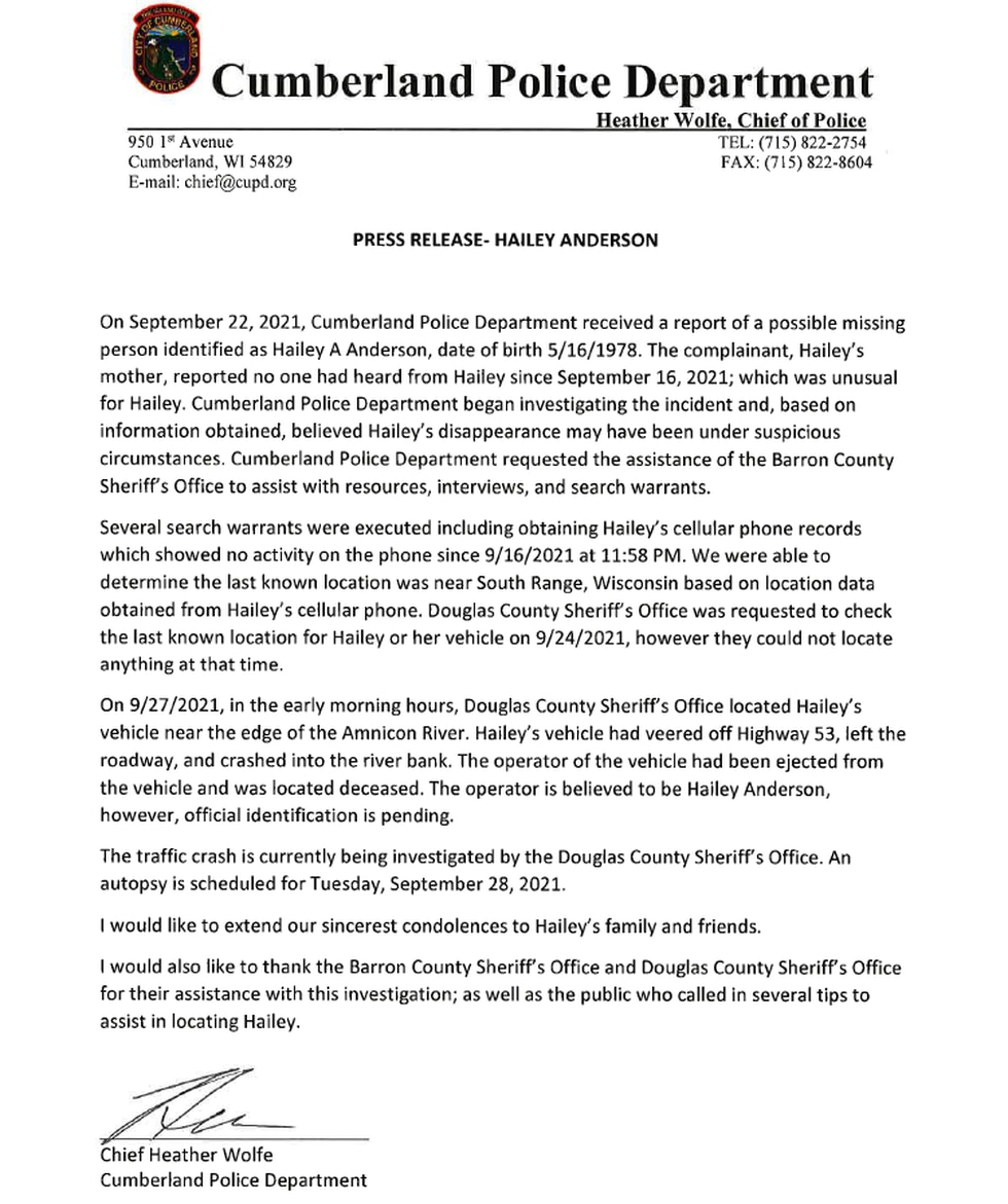 Cumberland Police Department press release for Hailey A. Anderson, Sept. 27, 20201.