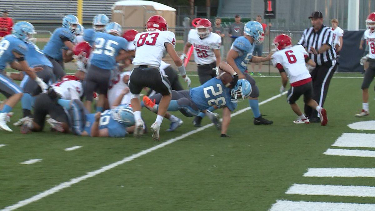 Eau Claire North's Sam Barby dives for a touchdown Friday night.