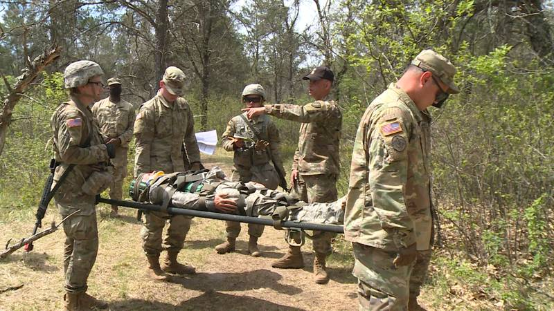 Soldiers train at Fort McCoy for the Expert Field Medical Badge tests