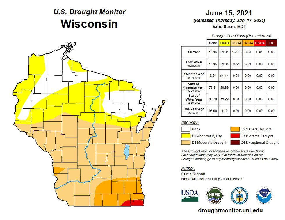 A drought monitor map of Wisconsin released on June 17, 2021.
