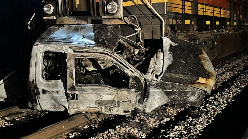Train collides into pick-up truck in Pierce County.
