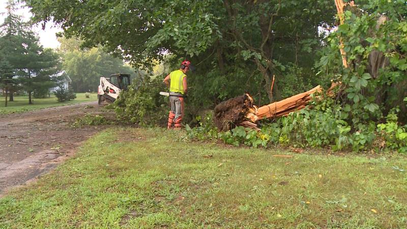 Crews arrived at Kirk Road around 6:30 a.m. Thursday to begin cleaning up down trees and debris.