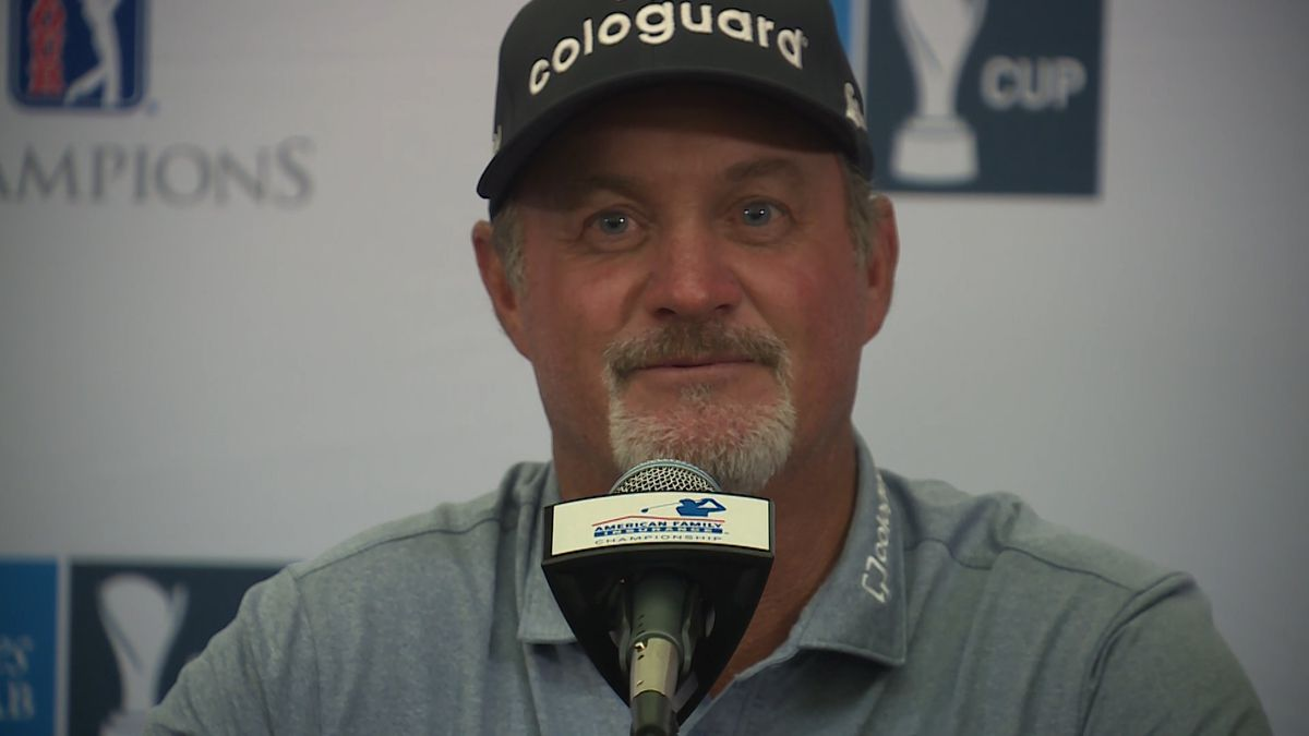 Jerry Kelly speaks after winning the American Family Insurance Championship.