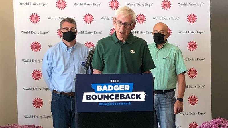 Gov. Tony Evers speaks at World Dairy Expo on Sept. 29, 2021.