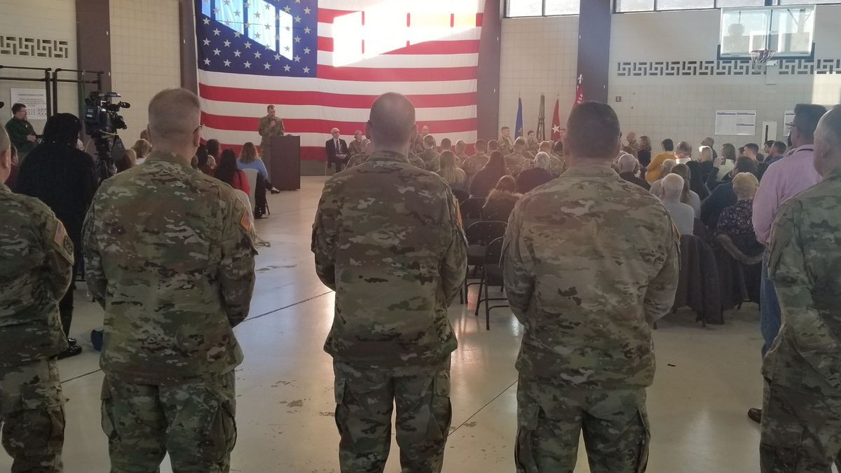 A Wisconsin Army National Guard engineer detachment deploys to the Middle East on Thursday, Jan. 16. (NBC15/Curt Lenz)