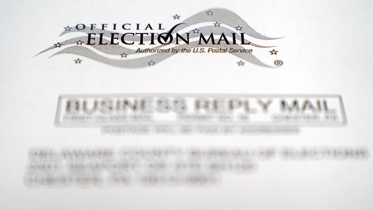 In this Oct. 13, 2020, photo, an envelope of a Pennsylvania official mail-in ballot for the...