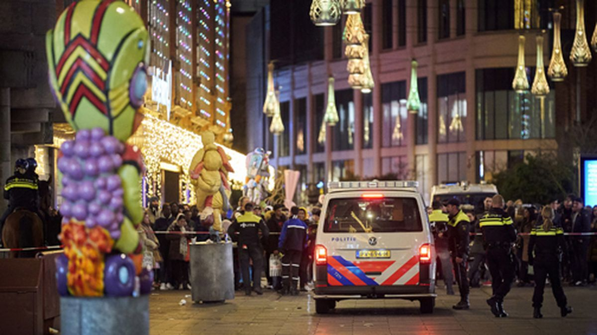 Dutch police block a shopping street after a stabbing incident in the center of The Hague,...