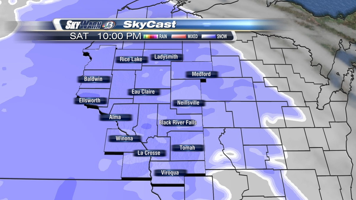 Moderate snowfall is expected through Saturday evening.